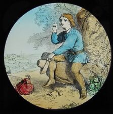 COLOUR Glass Magic Lantern Slide DICK WHITTINGTON NO4 C1890 VICTORIAN DRAWING