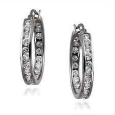 Black Rhodium Overlay Silver Channel Set CZ Hoop Earrings