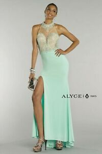 NWT Size 8 Seabreeze Alyce Paris 6422 illusion net beaded long formal evening go