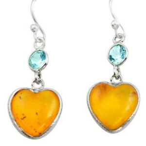925 Silver 6.20cts Natural Amber From Colombia Heart Love Earrings P74118