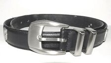 Vintage Gianni Versace Black Leather BELT Used 6 GV Charm Made in Italy RARE 38