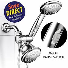 HotelSpa 42-Settings 3-way Hand and FixedShower Head Combo w/ON/OFF Pause Switch