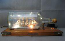 2866* grande et ancienne bouteille bateau voilier minerve diorama avec éclairage