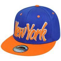 New York NY City Italic Script Flat Bill Snapback Blue Orange Adjustable Hat Cap