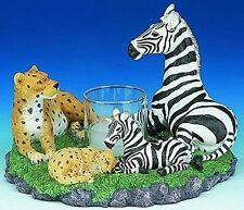 Leopard and Zebra With Babies Candle Holder (3045) 6 Inches Diamter