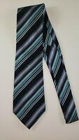 Covington Mens Silk Tie Black, Blue, And Purple Stripes
