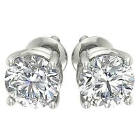 I1 G 2.10Ct Natural Round Diamond Solitaire Stud Earrings 14K White Gold 6.31 mm