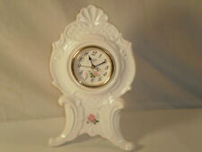 Boluva Milk White Table Clock With Pink Flowers 8""