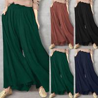 ZANZEA 8-24 Women Elastic Waist Wide Leg Pants Culottes Skirts Skorts Trousers
