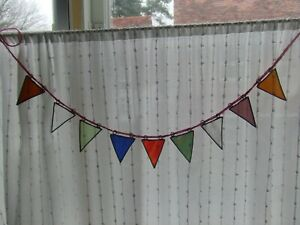 STAINED GLASS BUNTING SUNCATCHER - 9 FLAGS