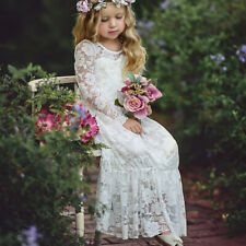 Girls Kids Princess Long Sleeve Bow Lace Floral Dress Wedding Party Prom Dresses