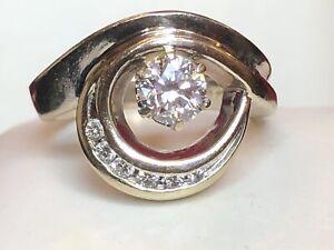 VINTAGE ESTATE 14K GOLD DIAMOND RING FREE FORM ENGAGEMENT WEDDING APPRAISAL