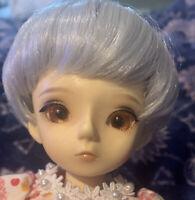 BJD 1/6 Silver Gray Wig 6-7 YOSD Bangs Unisex Girl Boy Short Doll Hair Grey