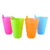 Child Kid Infant Sip 4 Cup Set With Straw Mug Tumbler Home