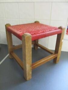 Vintage Original Woven Stool Seat Wood Cottage LOFT FIND NEEDS TLC