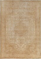 ANTIQUE Distressed Persian Area Rug Hand-Knotted Muted WORN Oriental Carpet 8x11