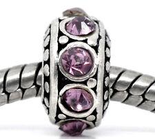 February Birthstone Light Purple Rhinestone Spacer Charm for European Bracelet