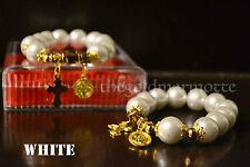 Elegant Majorica Pearl Rosary Bracelet (White- Gold Series)