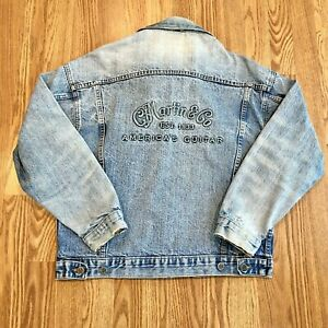 Vintage Martin & Co Americas Guitar Distressed Jean Jacket USA Made Size Small