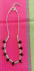 """🖤 Brighton 16"""" Necklace Black Onyx Marcasite Teardrop Crystals Silver"""