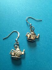 """Brand new"" Tibetan silver Teapot Alice in Wonderland earrings in organza bag"