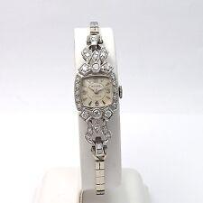 "Art Deco 14k White Gold .80ctw Diamond BUHRE Ladies Wind Up Watch Sz 6.75"""
