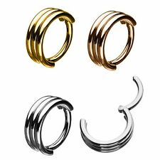 Triple Stack Hoop Surgical Steel Septum Clicker Nose Ear Hinged Tragus Ring