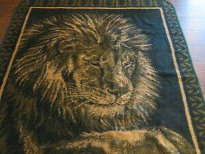 """Vintage San Marcos Reversible Blanket Teal Green Black Lion Huge Size 83"""" x 93"""""""
