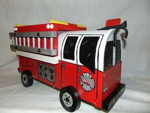 NEW RED FD. Hand Painted Fire Truck Mailbox Handpainted Firetruck Mail Box...