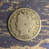 1911 LIBERTY V NICKEL. COLLECTOR COIN FOR YOUR COLLECTION.