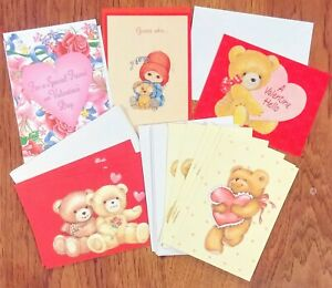 """Lot of 12 VALENTINE'S Greeting CARDS & Envelopes; about 5 x 4"""" BEARS, Floral"""