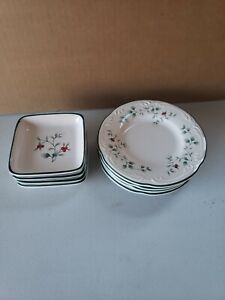 """Pfaltzgraff Winterberry Appetizer Snack Plates (4) 4"""" Square & (4) 6"""" Round HTF"""
