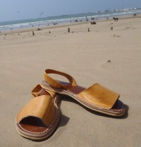 100% MOROCCAN LEATHER *  FLAT SLINGBACK OPEN TOE SPANISH STYLE SANDALS * TAN