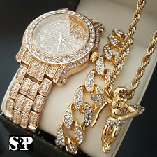 Men Hip Hop Iced Out Lab Diamond Watch & Cuban Bracelet & Angel Necklace Set
