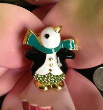 Green Christmas Penguin Brooch Crystal Brooch