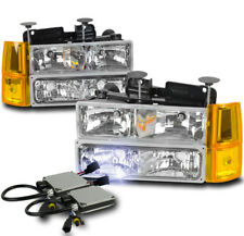 94-98 GMC C/K 1500 SUBURBAN SIERRA HEADLIGHTS LAMP W/BUMPER+CORNER+10K HID CLEAR