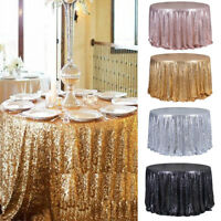 Round 47'' Sparkle Sequin Tablecloth Cover Wedding Party Banquet Table Decor US