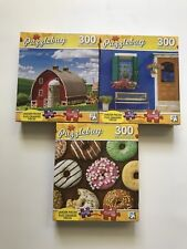 Lot Of 3 Puzzlebug Puzzles 300 Pieces Barn Bench Donuts Jigsaw