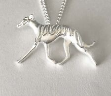 Silver Plated Pendant Necklace with Trotting Greyhound or Whippet