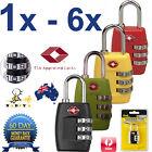 1x to 6x Locks New TSA Approved 3-Dial Luggage Locks Combination Padlock