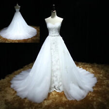 White/Ivory Sweetheart Wedding Dresses Lace Beaded Bridal Gown Detachable train