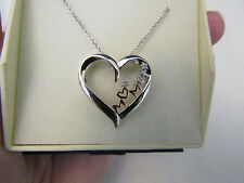 "BEAUTIFUL .06 CT NATURAL ROUND DIAMOND ""MOM"" & HEART NECKLACE 10K & .925"