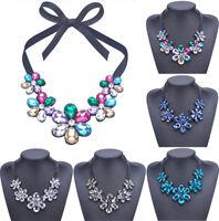 Fashion Women Bib Flower Crystal Pendant Chain Statement Chunky Choker Necklace