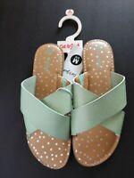 New Cat & Jack Girls' Margot Slide Sandals In Mint Green, Size M, L & XL