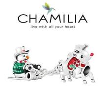 BNIB CHAMILIA 925 silver enamel & Swarovski Christmas SLEDDING FRIENDS charm