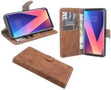 LG V30 // Book Style Hülle Etui Buch Case Handytasche Schale in Braun