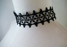 Ornate Victorian Black Fabric Lace Choker Goth Lolita Steampunk Wiccan Pagan 20