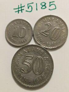 🇲🇾🇲🇾 3 Malaysia Coins 1982 10 & 50 Sen & 1988 20 Sen Coins 🇲🇾🇲🇾