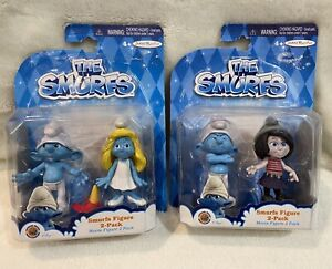 The Smurfs Figure 2 Pack - Clumsy & Smurfette - Grouchy & Vexy - LOT of 2 Packs
