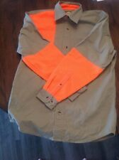 NWOT CABELA'S Youth Khaki Orange Long Sleeve Hunting Shirt Size Size Large Bird